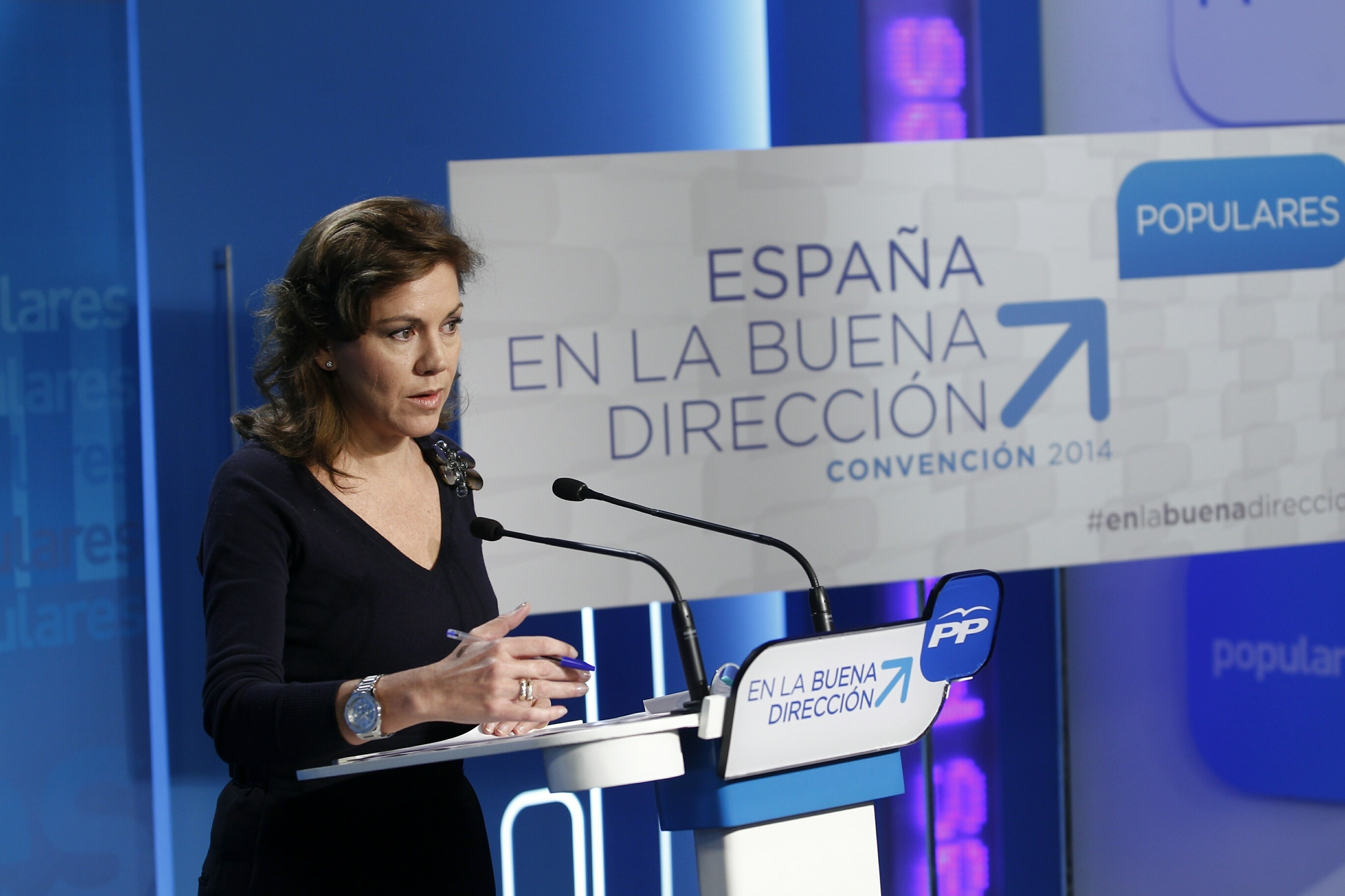 Cospedal niega una «fractura» o una «convulsión» interna en el PP por la ausencia de Aznar o la renuncia de Mayor