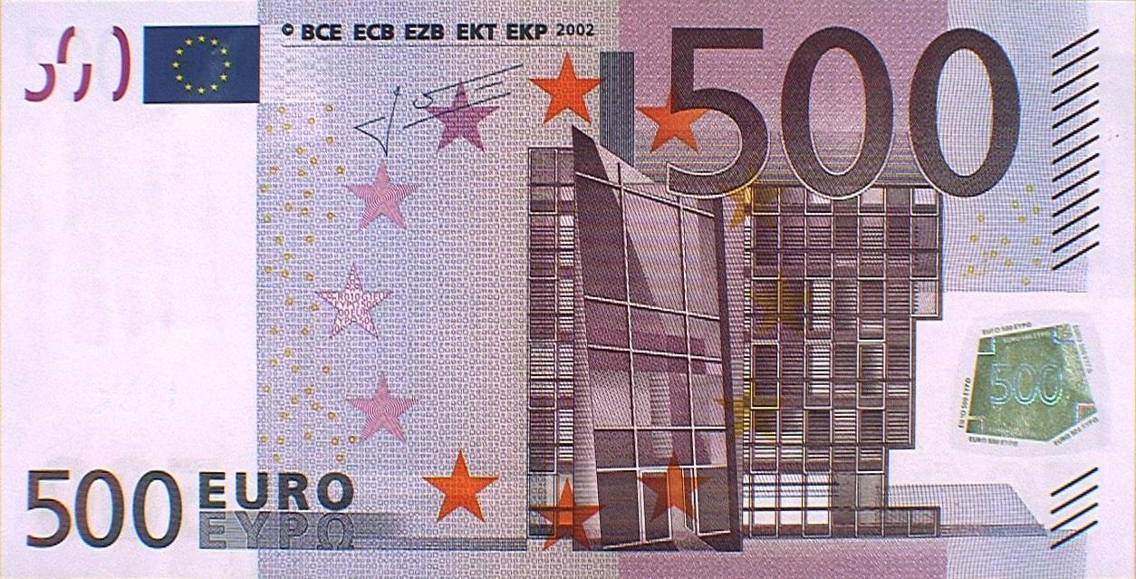 Los billetes de 500 euros se reducen un 29% durante la crisis, a niveles de hace ocho años