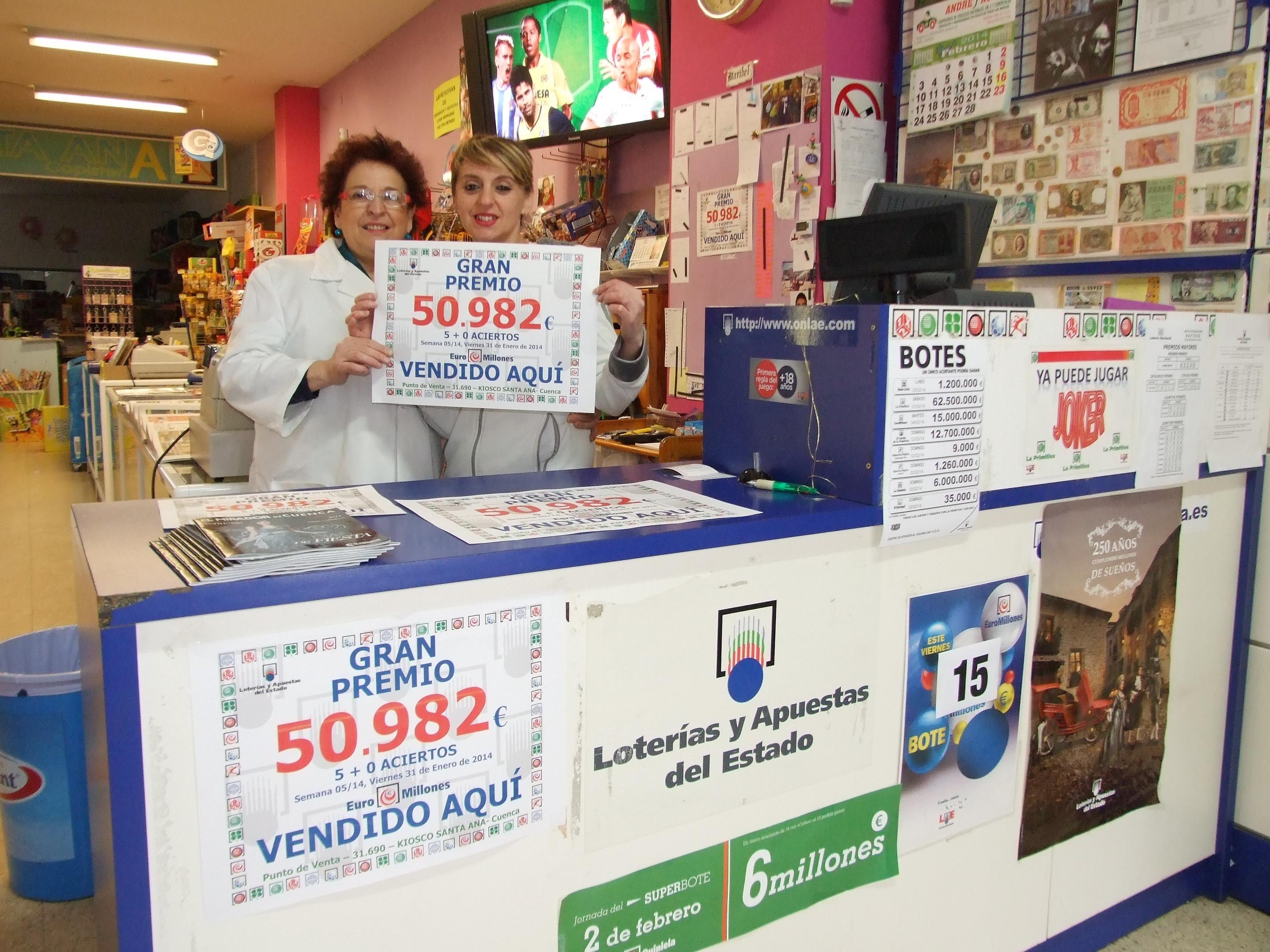Agraciado con 50.982 euros un boleto acertante de tercera categoría del sorteo de Euromillones