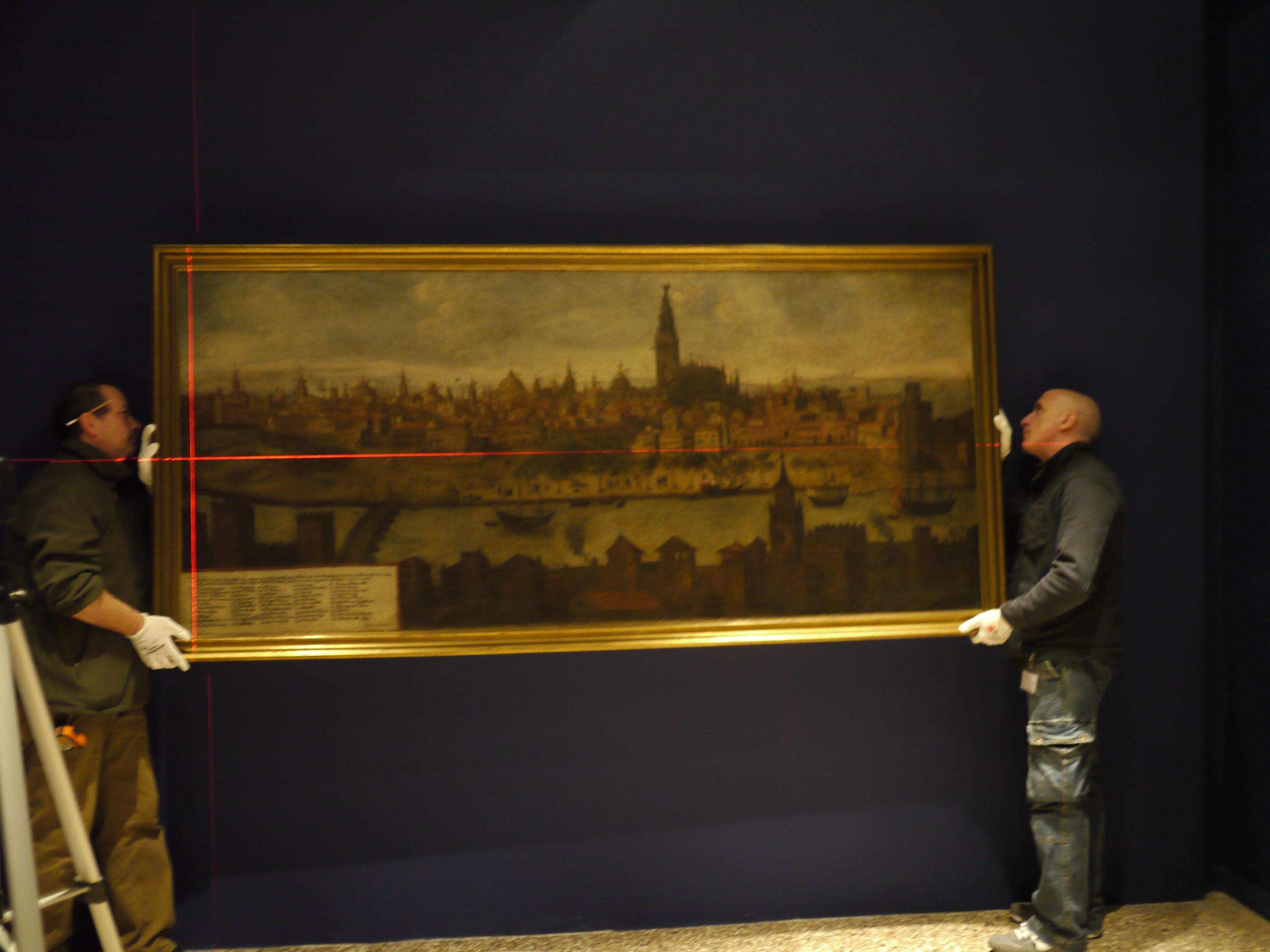 Ayuntamiento presta el cuadro »La Vista de Sevilla», de autor anónimo, para una exposición en Venecia