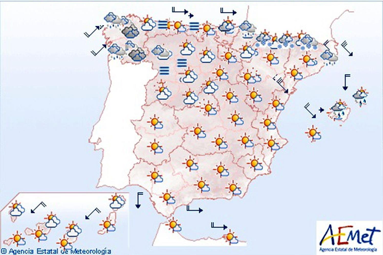Lluvias débiles en el noroeste y vientos fuerte en Cataluña y Baleares