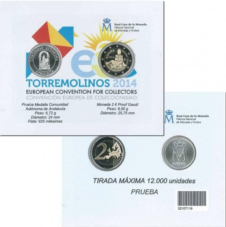 La FNMT presentará en Torremolinos una moneda de dos euros dedicada a Gaudí y la medalla de Andalucía en plata