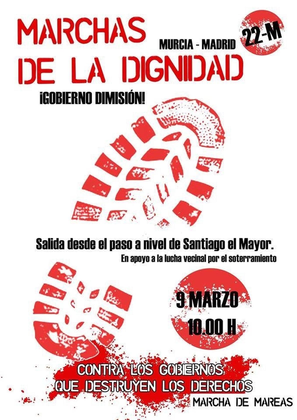 La Columna murciana de las Marchas de la Dignidad parte este domingo desde el paso a nivel de Santiago el Mayor