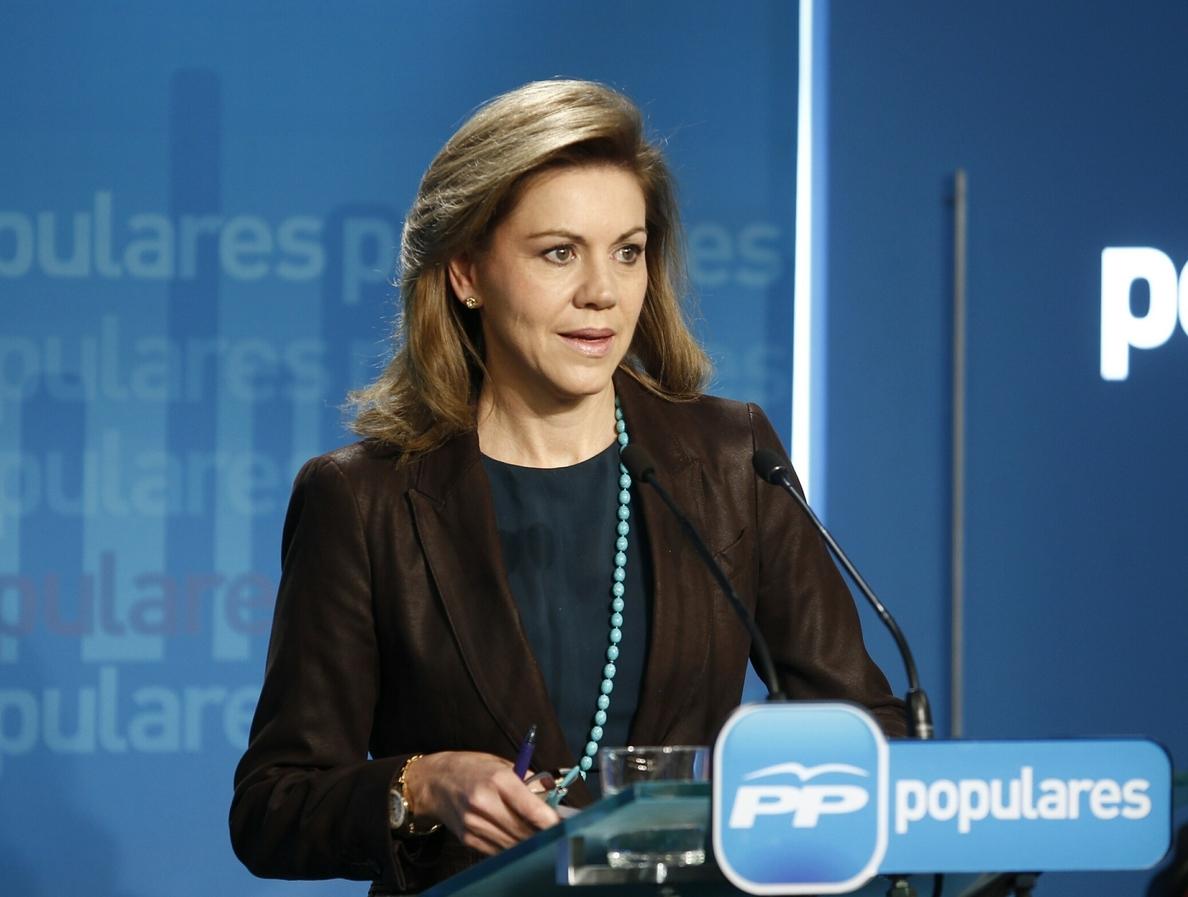 Cospedal afirma que, gracias a PP, se ha evitado que se produjera «una infamia» en Navarra «de la mano de Bildu»