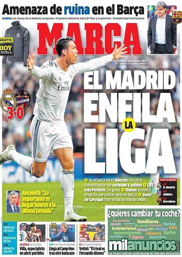 Cristiano Ronaldo y la crisis del Barça, protagonistas de las portadas