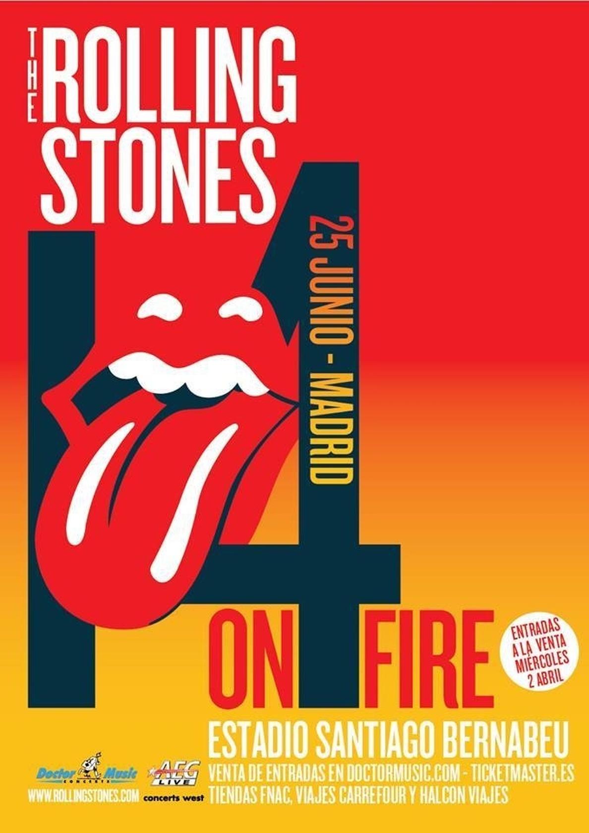 The Rolling Stones actuarán el 25 de junio en el estadio Santiago Bernabéu de Madrid