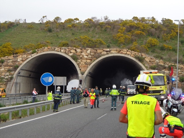 Junta realiza en Los Barrios el primer simulacro hecho en Andalucía de un accidente de mercancías peligrosas