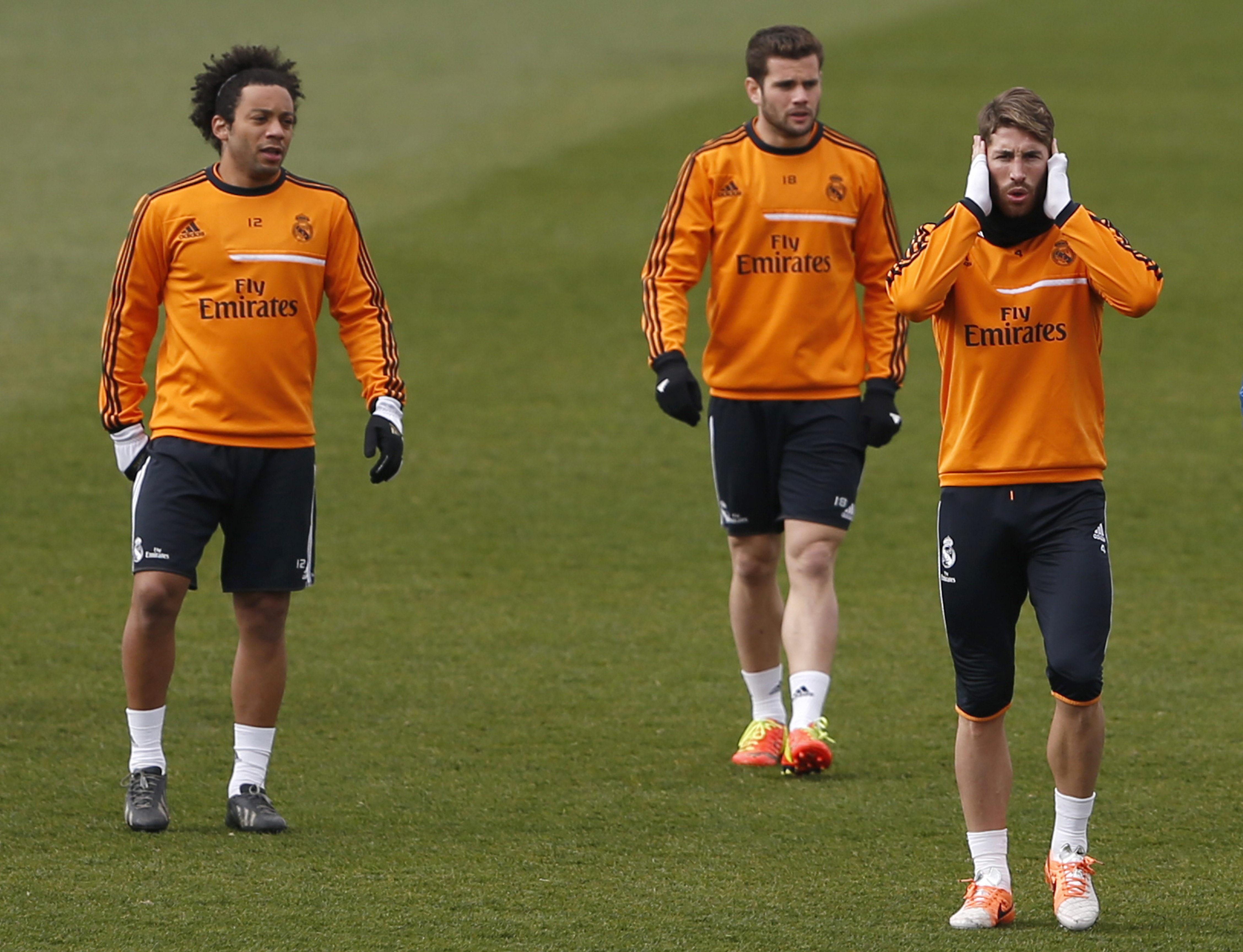 Cristiano, Marcelo y Ramos se entrenan de cara al partido ante el Bayern
