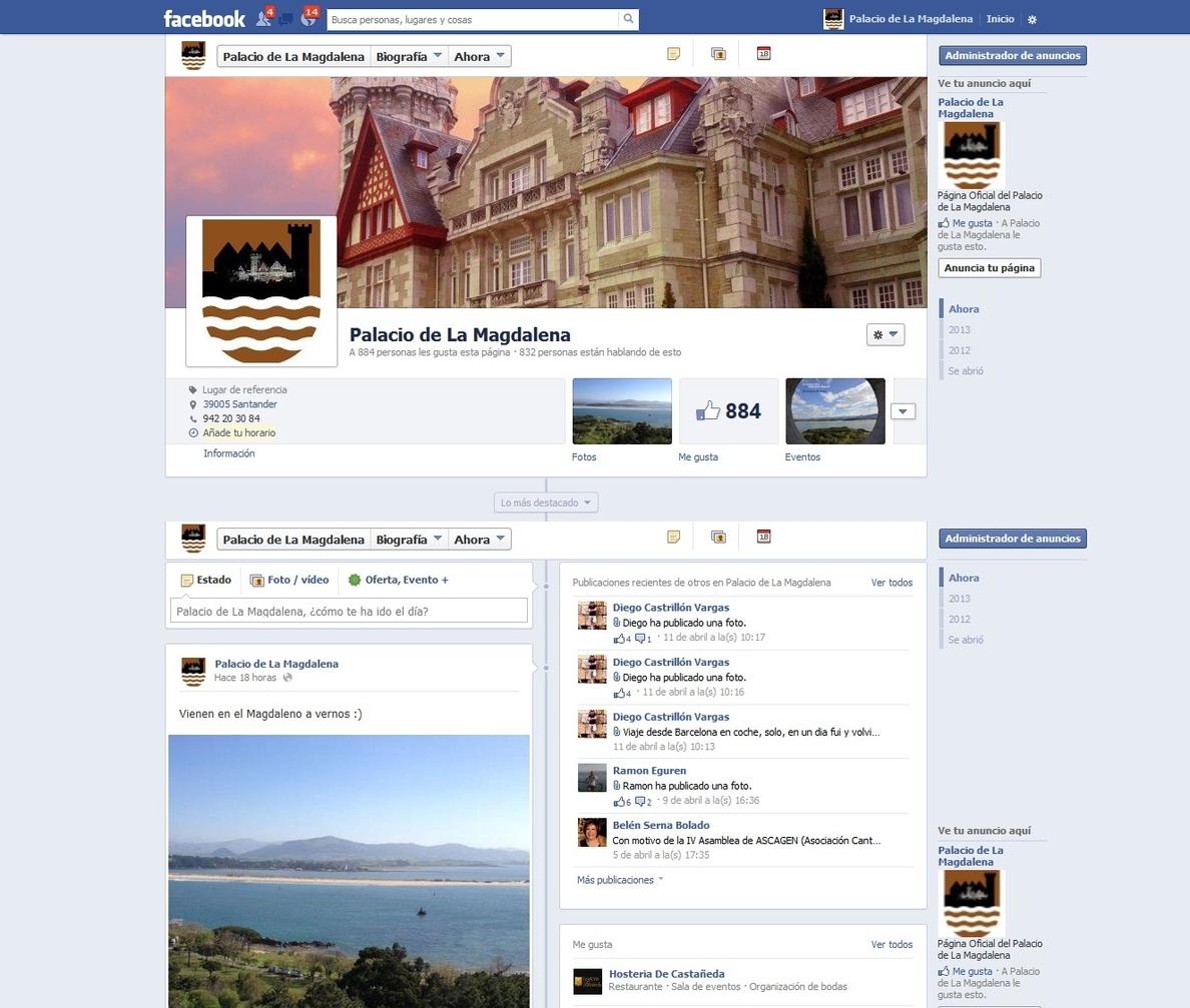 Los perfiles del Palacio de la Magdalena en Twitter, Facebook e Instagram superaran los 3.600 seguidores