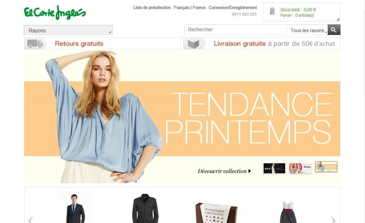 El Corte Inglés amplía a Francia su tienda »online» con más de 200 marcas