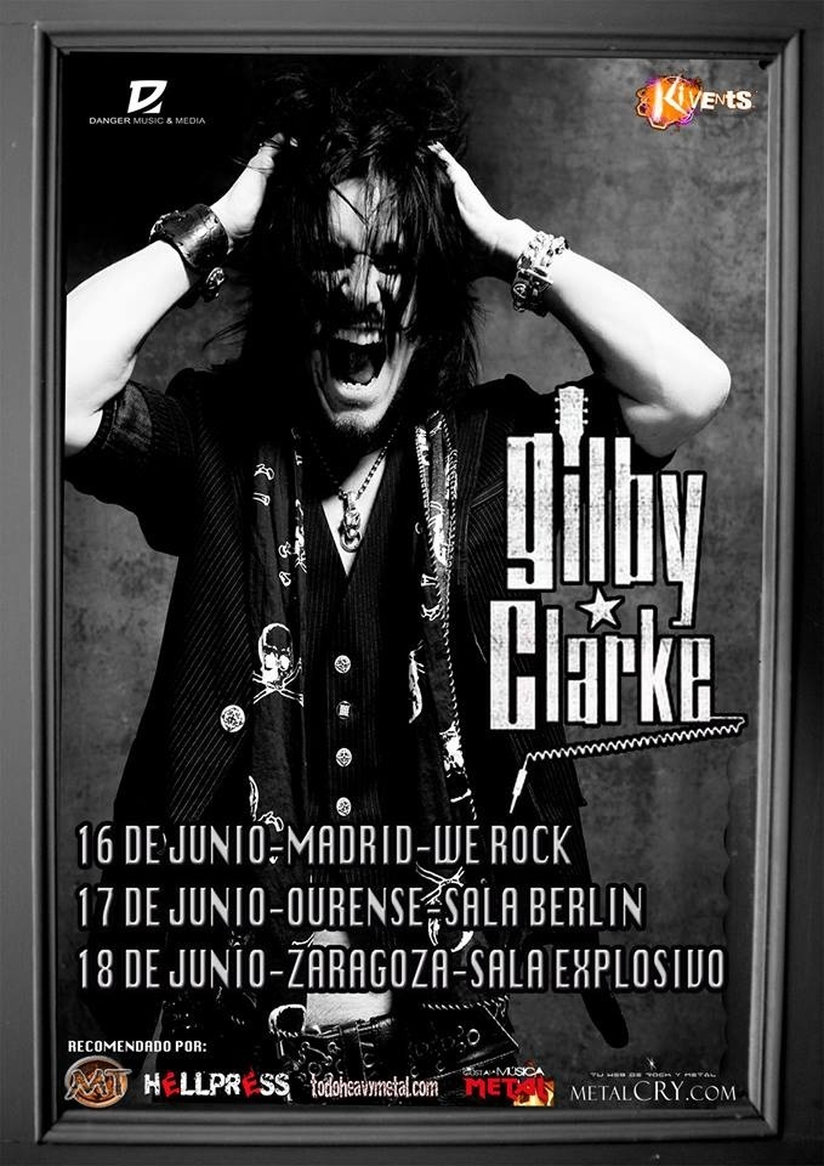 Gilby Clarke actuará en junio en Madrid, Ourense y Zaragoza