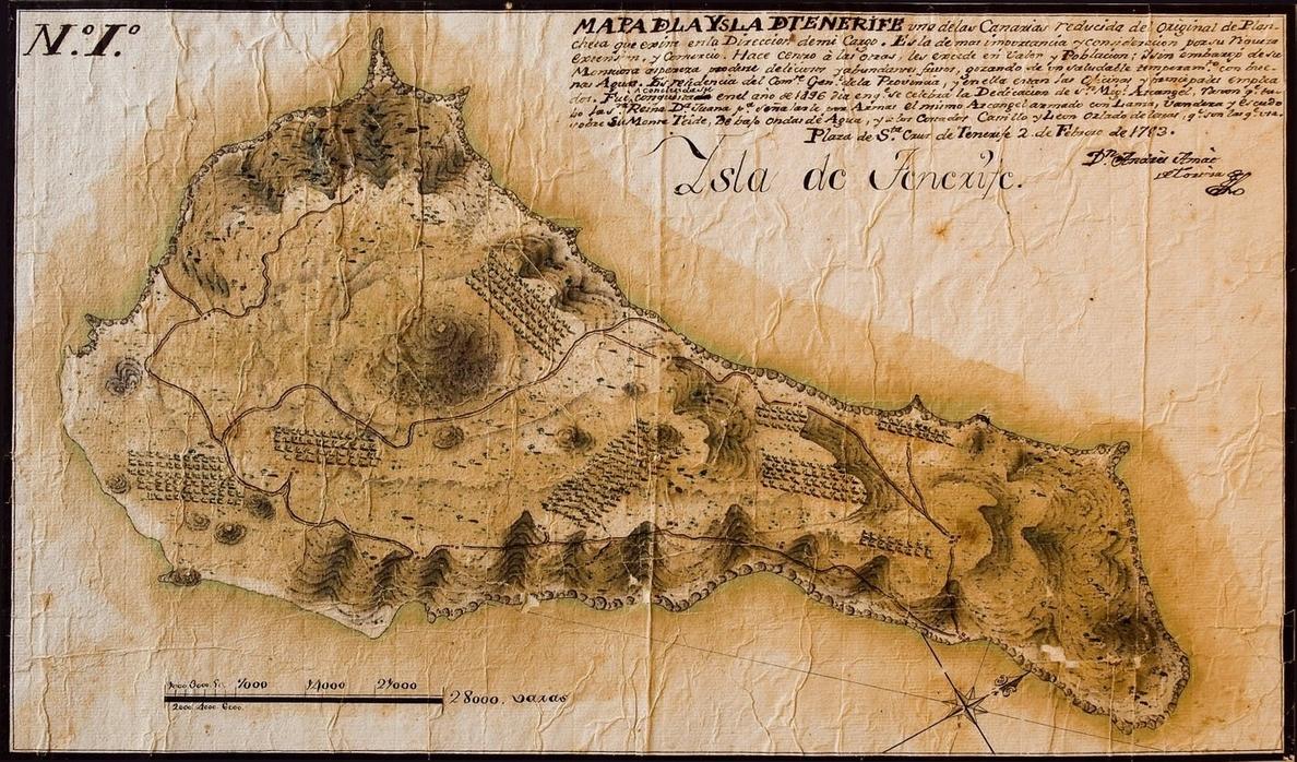 La sección »Tras el cristal» recupera un mapa de Tenerife del siglo XVIII