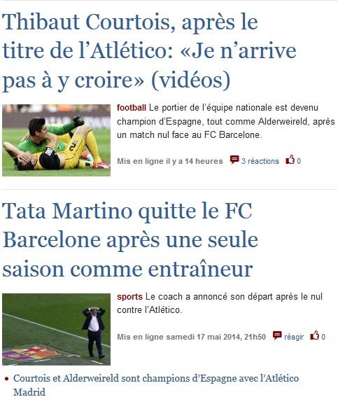 Los diarios belgas celebran el título de Toby y Courtois