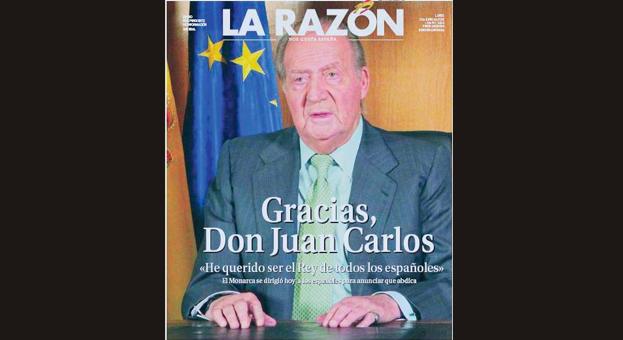 Las portadas de las ediciones especiales de la prensa tras la abdicación del Rey