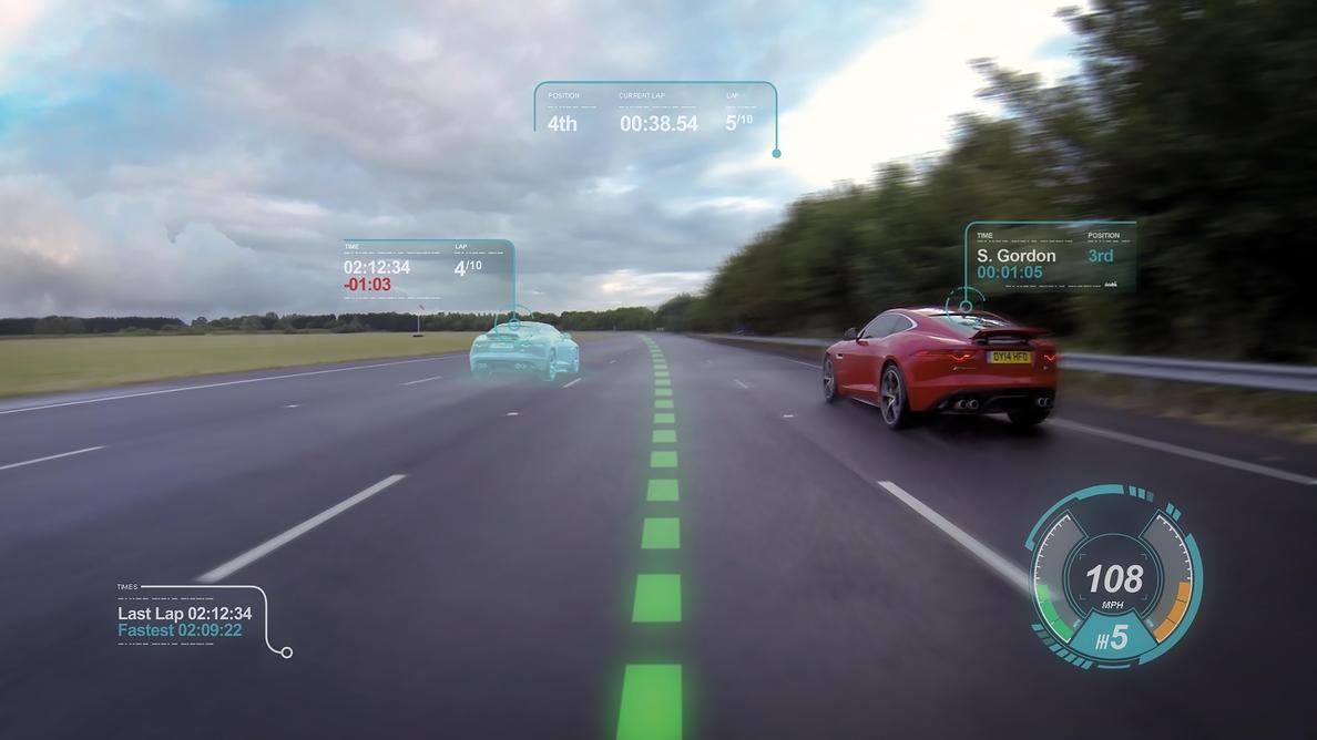 Jaguar transforma la luna delantera en pantalla informativa