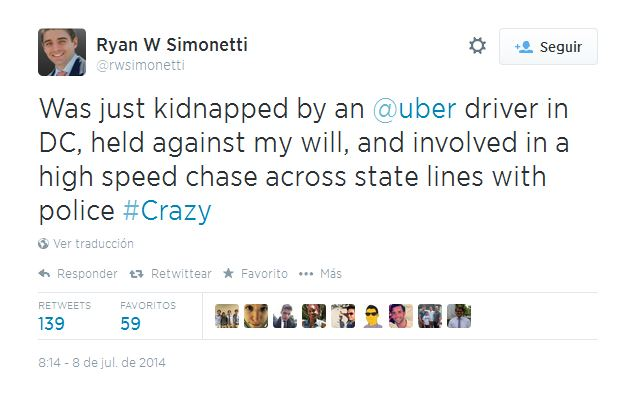 Un estadounidense denuncia haber sido secuestrado por un conductor de Uber