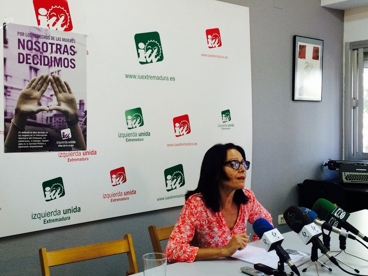 IU de Extremadura considera que la ley del aborto «del PP y la iglesia» es un «ataque al derecho de la mujer a decidir»