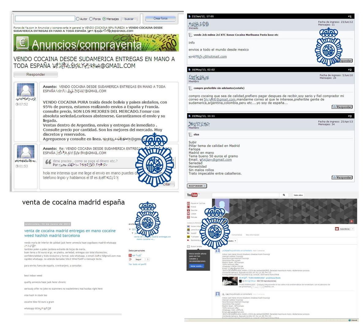 Cae una red de «cibernarcos» que vendía cocaína en internet, con 13 detenidos