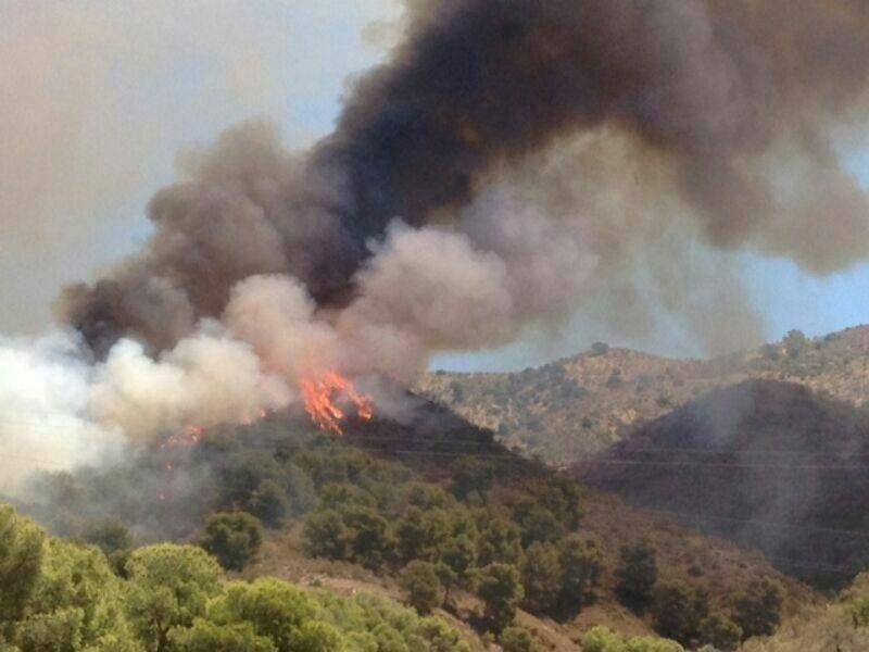 Más de un centenar de efectivos trabajan contra un incendio forestal declarado en los Montes de Málaga