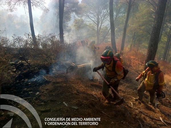 Los medios aéreos se reincorporan a la extinción del incendio forestal en los Montes de Málaga