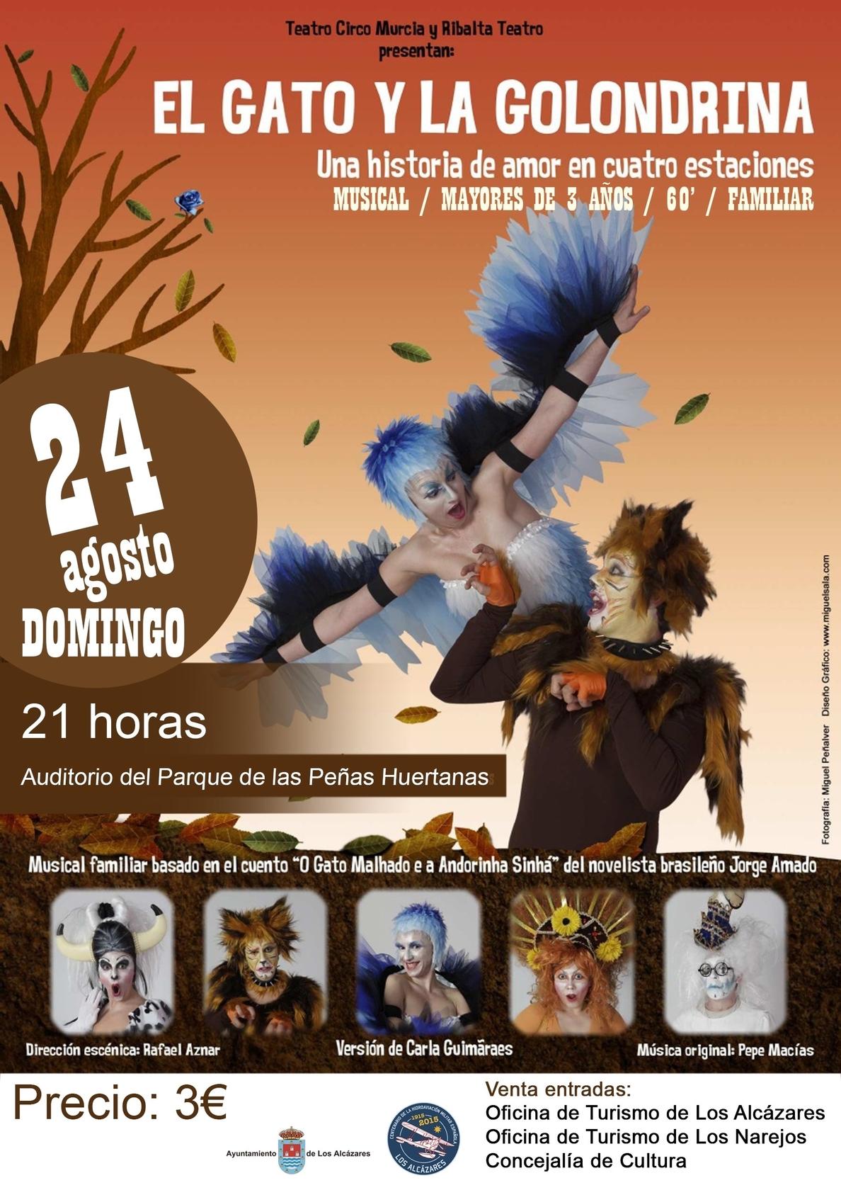 El Parque de las Peñas Huertanas de Los Alcázares acoge este domingo el musical »El gato y la golondrina»