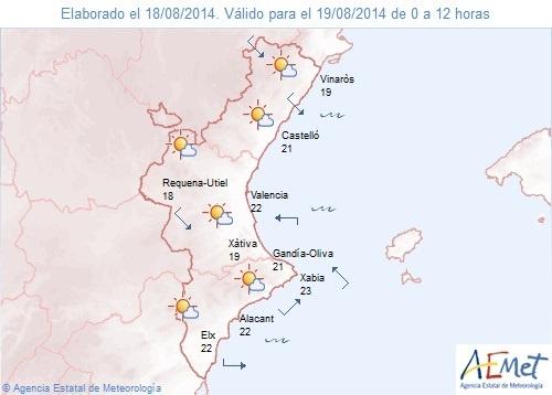 El interior norte de Castellón está en alerta amarilla por tormentas mientras que en el resto habrá poca nubosidad