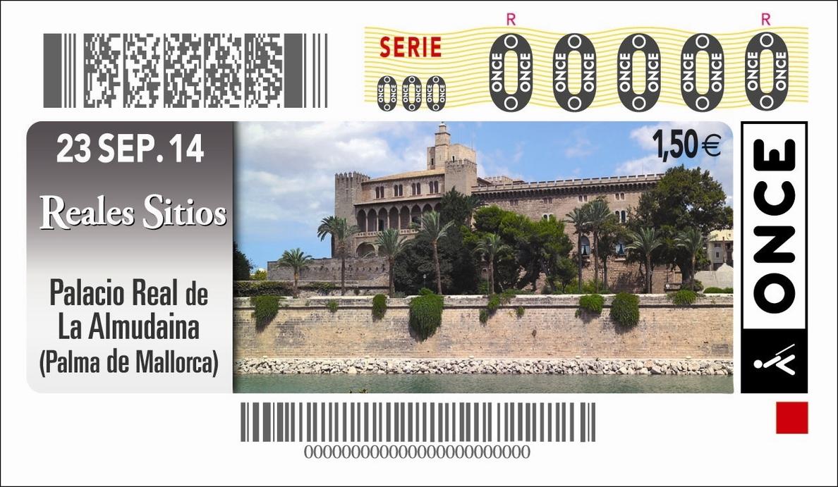 El Palacio Real de La Almudaina, imagen del cupón de la ONCE del 23 de septiembre