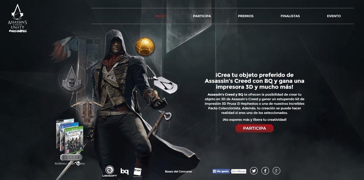 Ubisoft y bq se unen para imprimir en 3D Assasin»s Creed Unity