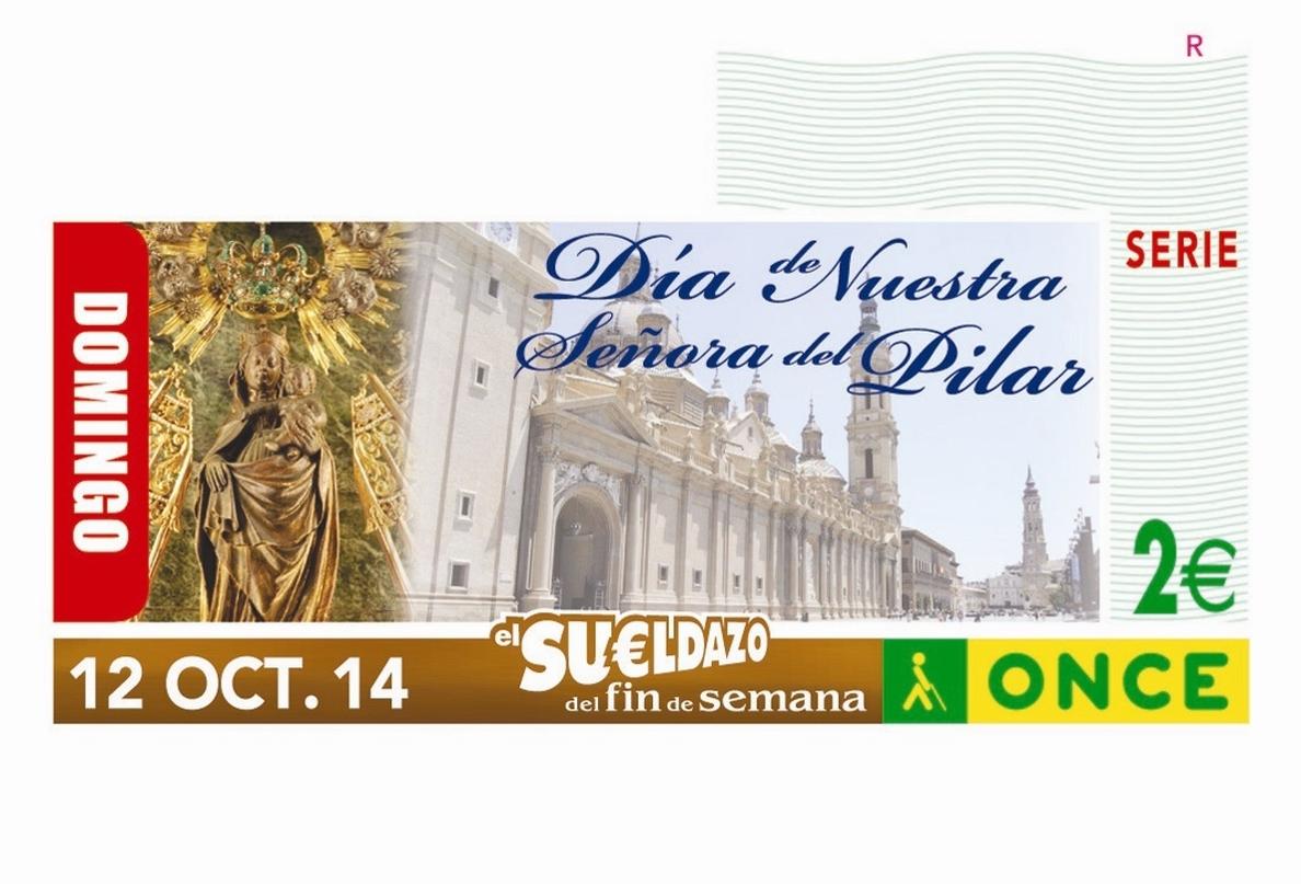 La ONCE pone a la venta 5,5 millones de cupones del día 12 con la imagen de la Virgen del Pilar