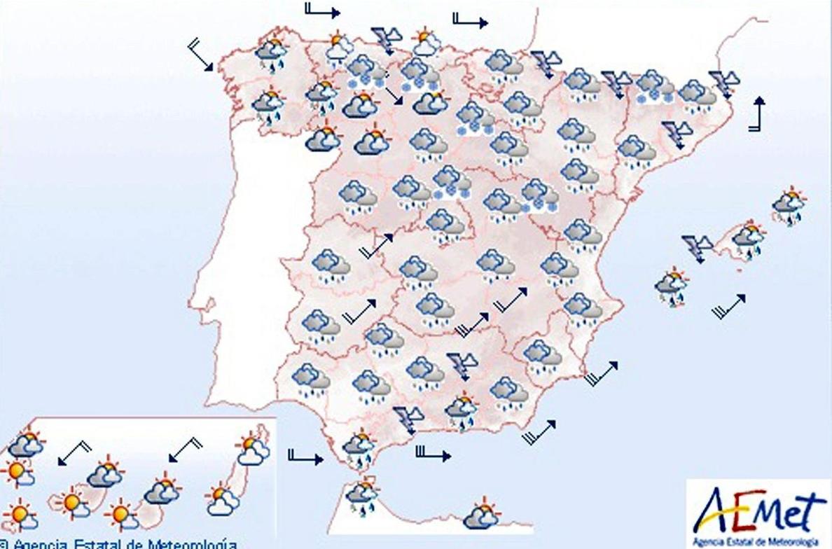 Lluvia y vientos fuertes en la mayor parte de la Península