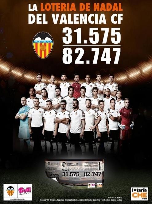 El número de Valencia CF reparte 100 euros al décimo