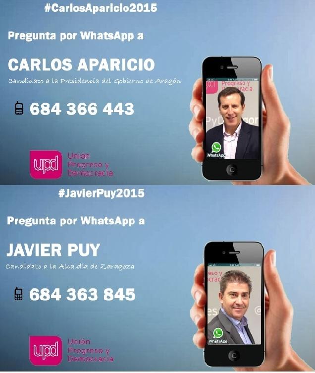 Javier Puy y Carlos Aparicio (UPyD) habilitan dos números de WhatsApp para contactar con los ciudadanos