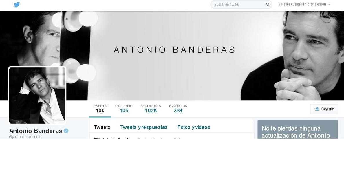 Antonio Banderas supera los 100.000 seguidores en Twitter en su primer mes: «La tecnología ha acabado atrapándome»