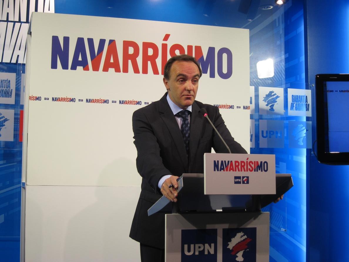 Esparza afirma que UPN no votará a favor de que haya en Navarra presidenta nacionalista «en ninguno de los casos»