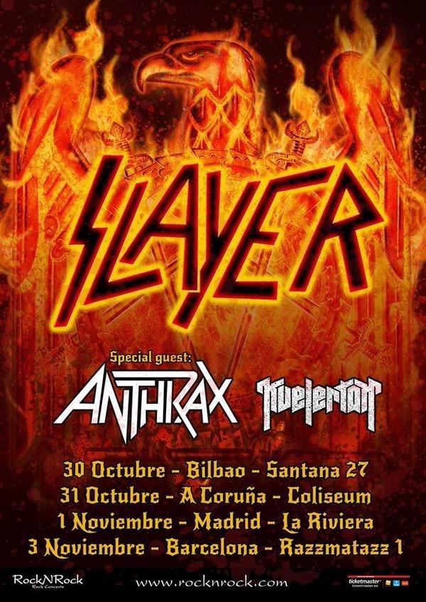 Slayer y Anthrax actuarán en Bilbao, A Coruña, Madrid y Barcelona