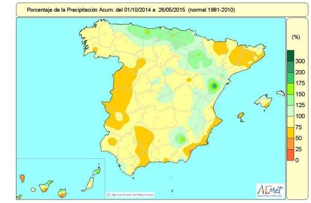 Las lluvias acumuladas desde octubre en el conjunto de España están un 11% por debajo del nivel normal