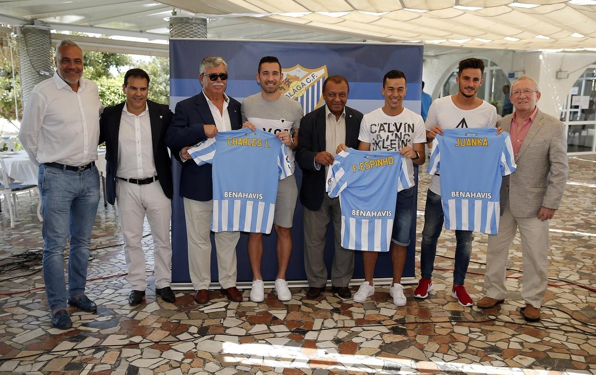 Charles, Espinho y Juan Carlos, ilusionados en su presentación con el Málaga