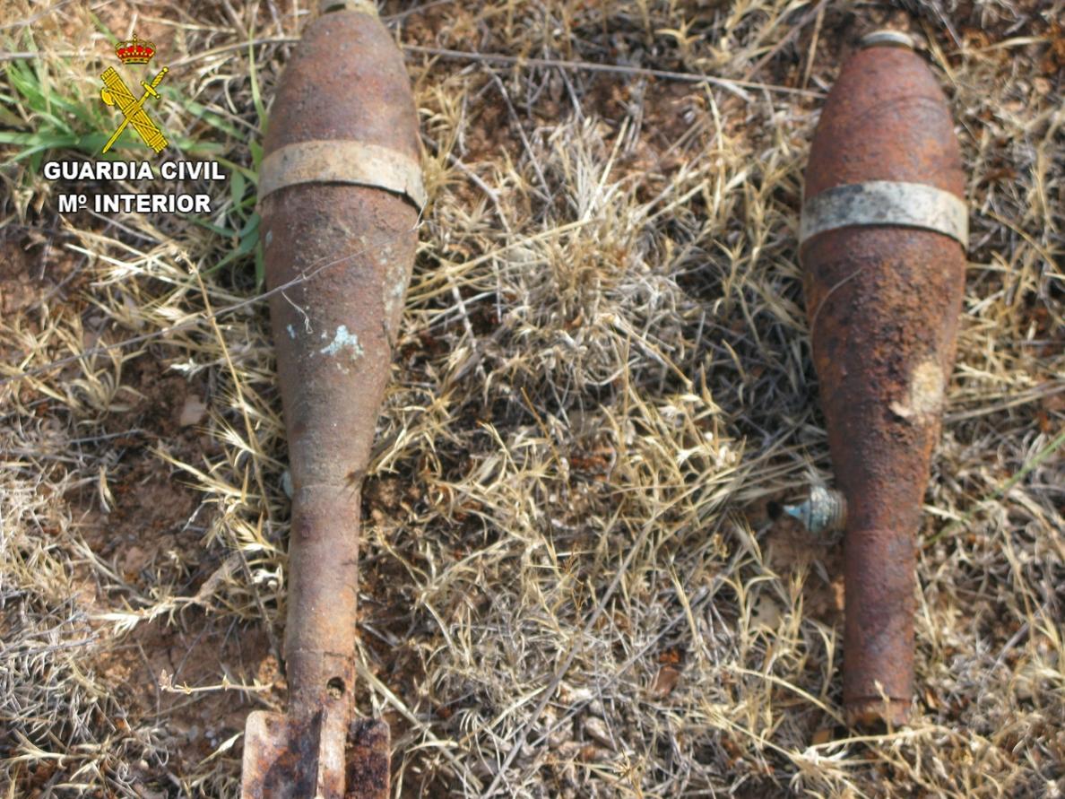 Desactivado un proyectil de artillería y dos granadas de mortero de la Guerra Civil en Miralrío (Guadalajara)