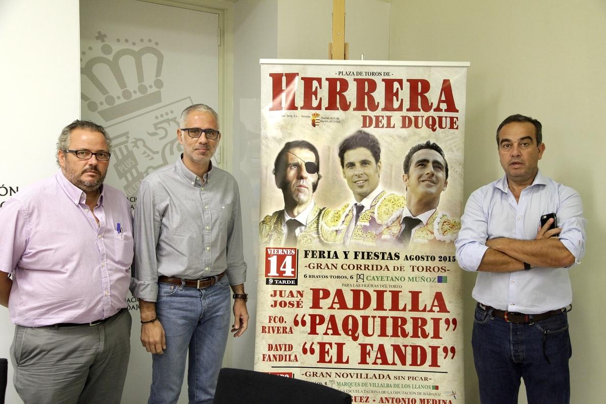 Los diestros Padilla, Paquirri y El Fandi torearán en las Fiestas de Agosto de Herrera del Duque (Badajoz)
