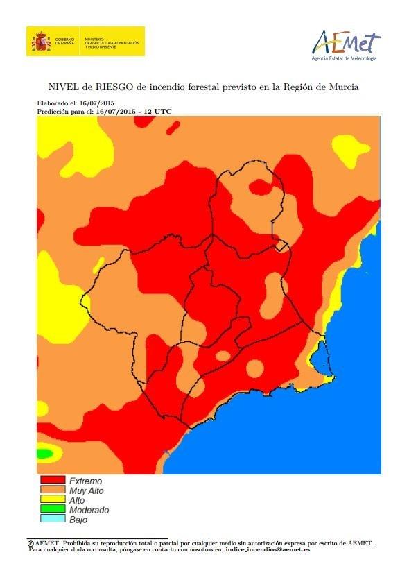 El riesgo de incendio forestal previsto este jueves es extremo o muy alto toda la Región