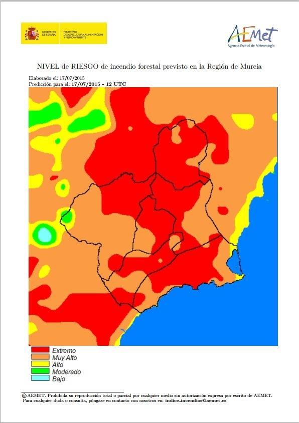 El riesgo de incendio forestal previsto para este viernes es extremo en casi toda la Región