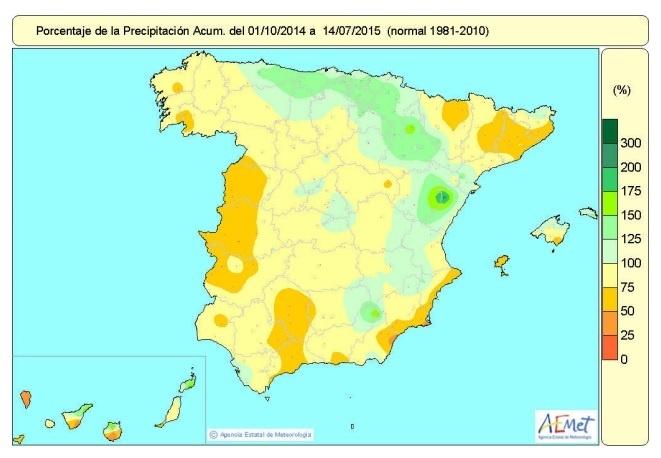 Las escasas precipitaciones elevan el déficit acumulado de lluvias desde el 1 de octubre de 2014 al 11%