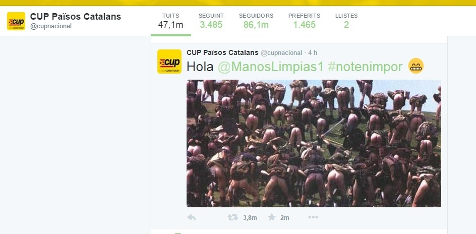 La CUP replica a Manos Limpias con una foto de personas enseñando el culo contra su ilegalización