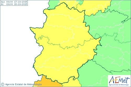 Extremadura permanecerá este sábado en alerta amarilla por lluvia y viento