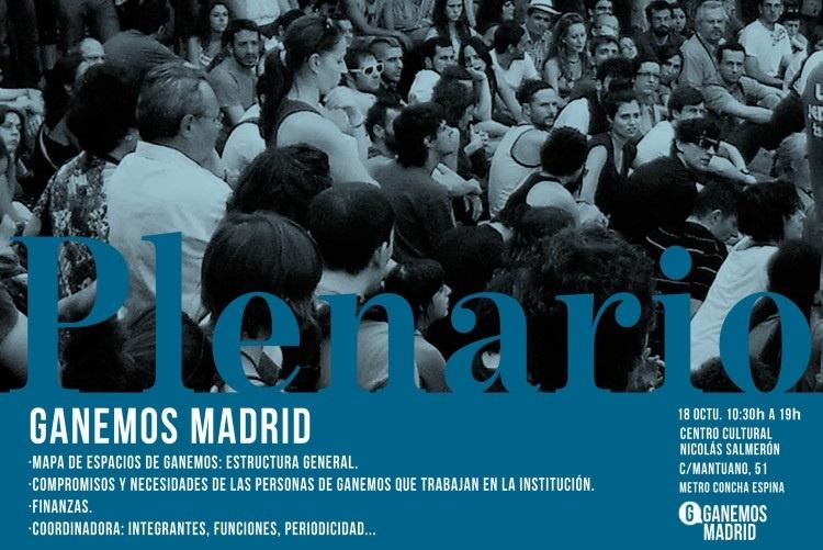 Ganemos Madrid celebra el domingo un plenario con el objetivo de reorganizar el movimiento municipalista