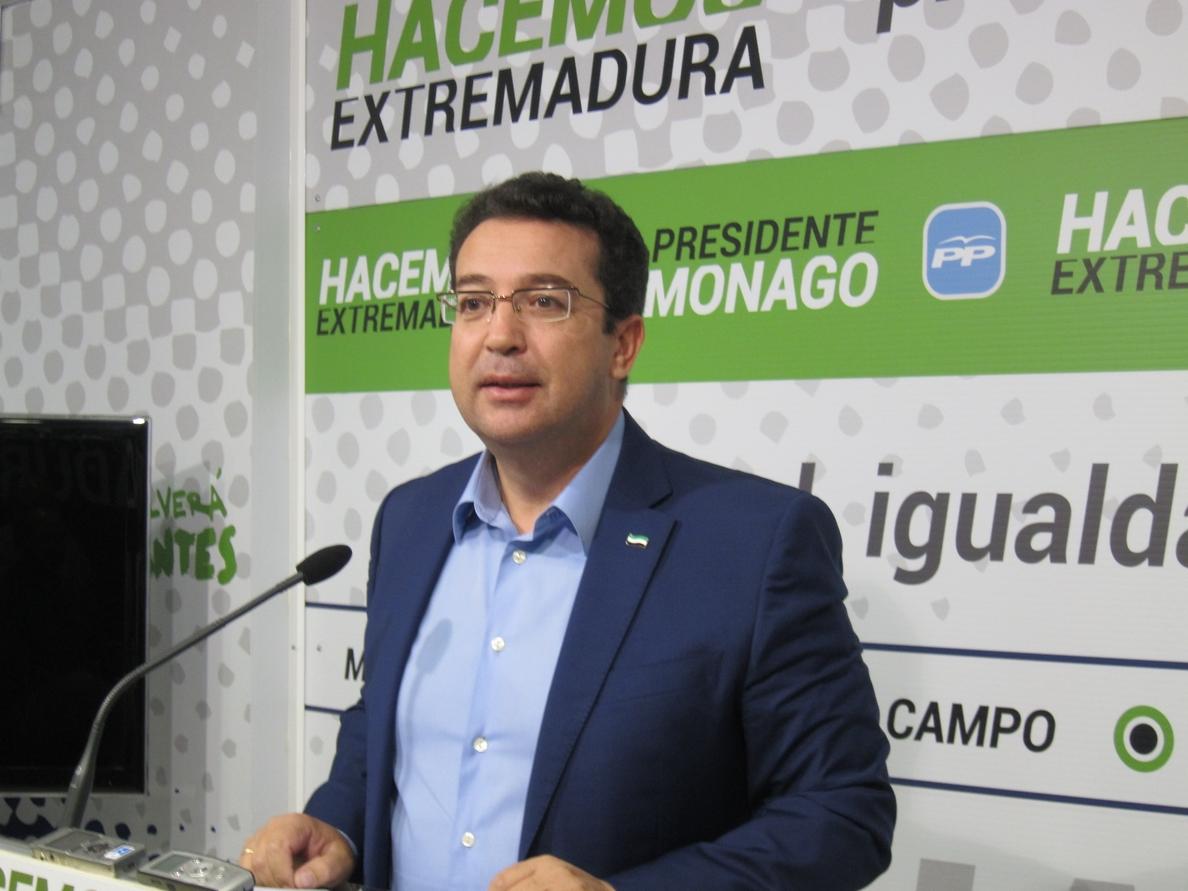 El PP reprocha a Vara que los extremeños desconozcan aún el borrador del presupuesto y los ajustes enviados a Hacienda
