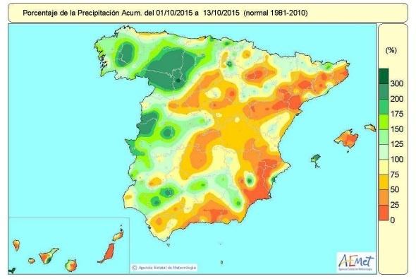 Las lluvias acumuladas desde el 1 de octubre superan al valor normal en un 9 por ciento
