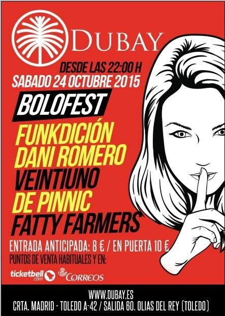 El 24 de octubre se celebra I »Bolofest» con »Veintiuno», »The Pinnic», »The Fatty Farmer» y »La Funkdición Dani Romero»