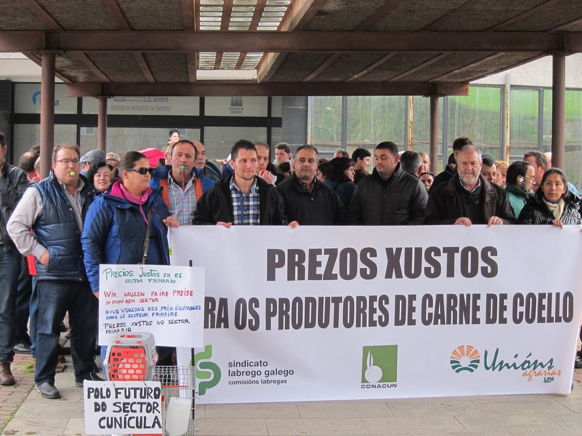 Más de medio centenar de personas se concentra ante la Xunta para reclamar «un precio justo» para el conejo