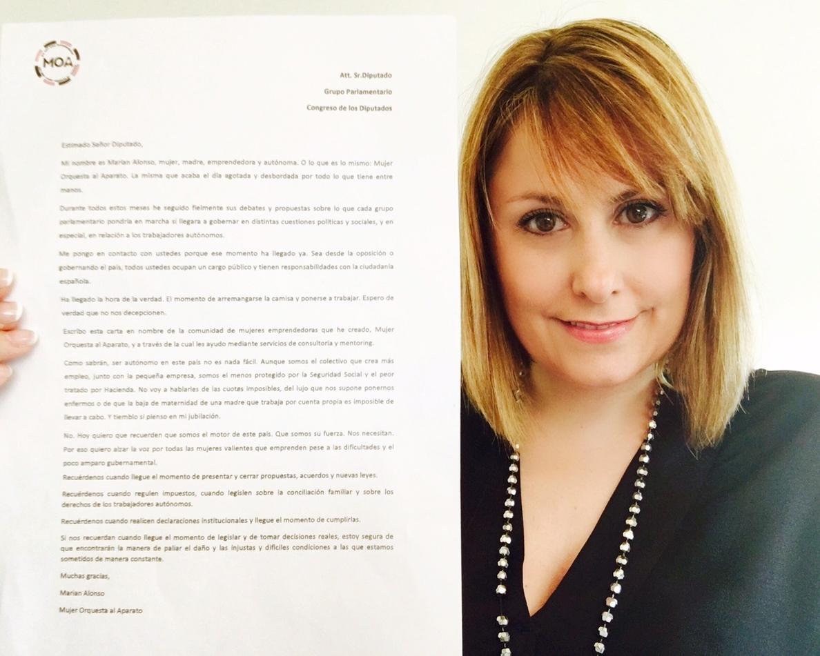 Una emprendedora pide mejores condiciones para mujeres autónomas con una carta dirigida a todos los diputados